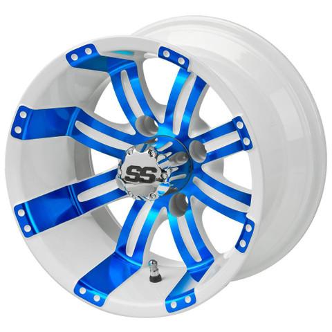 "12"" TEMPEST White/ BLUE Aluminum Golf Cart Wheels - Set of 4"