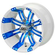 "12"" TEMPEST White/ BLUE Aluminum Golf Cart Wheels - Set of 4"