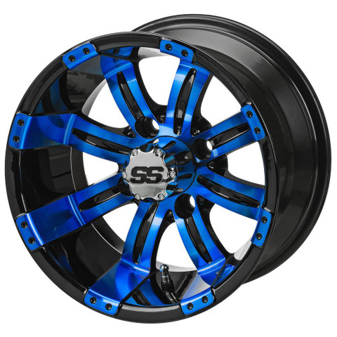 "12"" TEMPEST Black/ BLUE Aluminum Golf Cart Wheels - Set of 4"