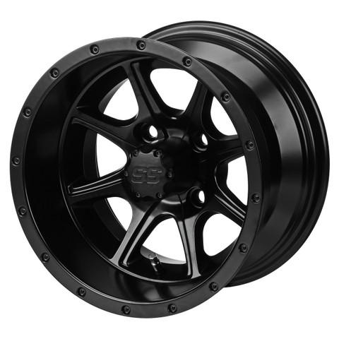 "12"" TREMOR Matte Black Aluminum Golf Cart Wheels - Set of 4"
