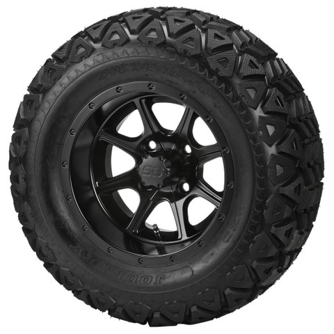 """12"""" TREMOR Machined Wheels and 23x10.5-12"""" DOT All Terrain Tires Combo"""