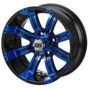 "14"" TEMPEST Black/ BLUE Aluminum Golf Cart Wheels - Set of 4"