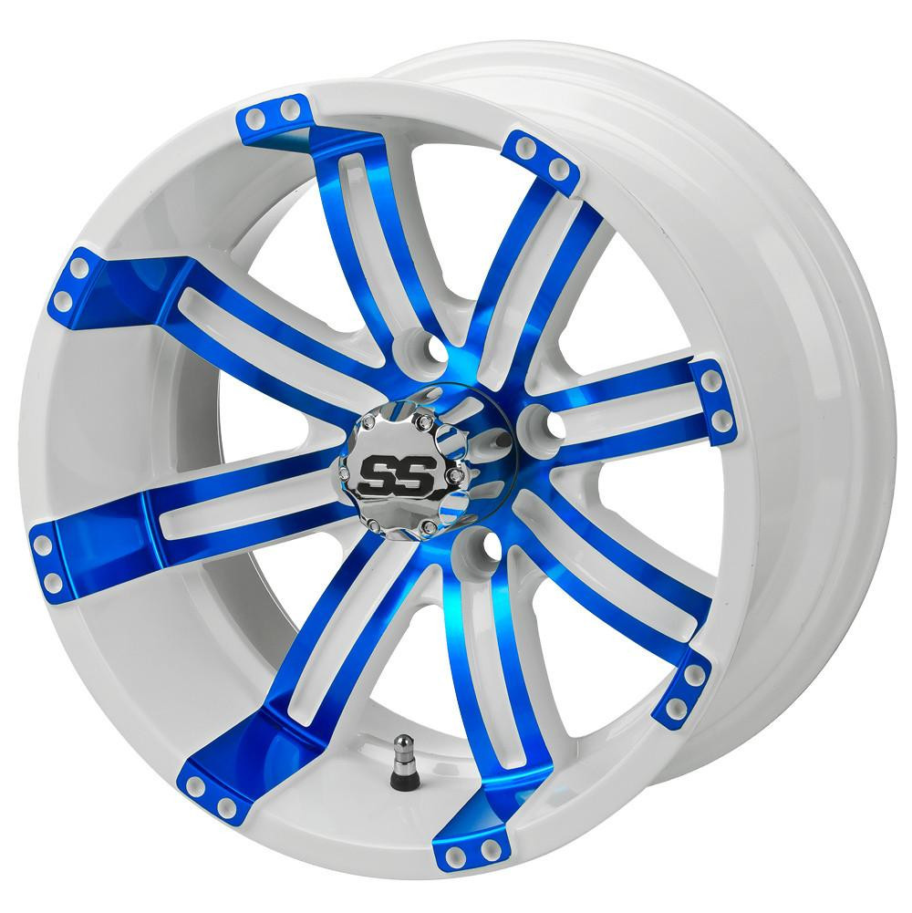 14 Tempest White Blue Golf Cart Wheels Set Of 4 Golf Cart Tire Supply
