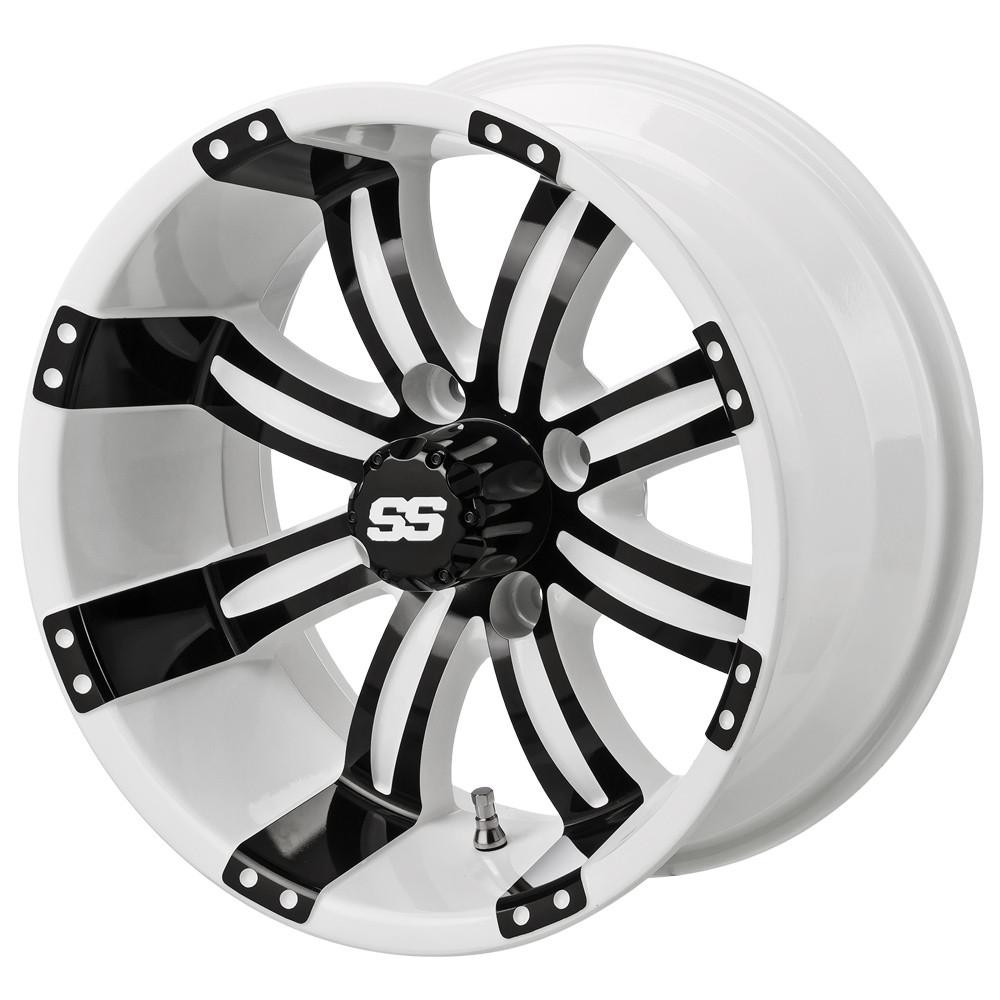 14 Quot Tempest White Black Golf Cart Wheels Set Of 4