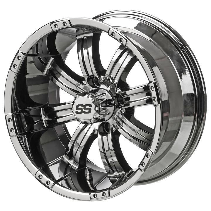 14 Tempest Mirrored Chrome Golf Cart Wheels Set Of 4 Golf Cart Tire Supply