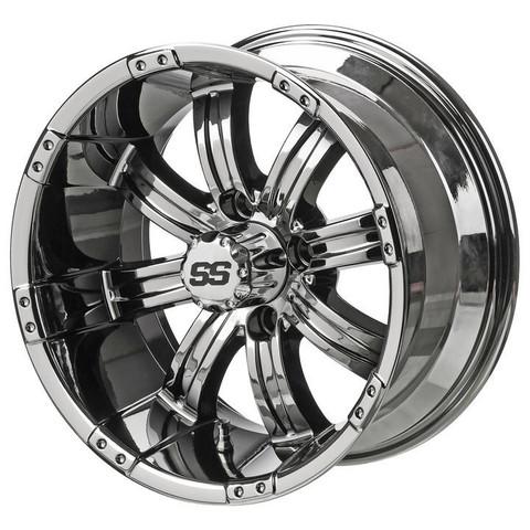 "14"" TEMPEST Black/ BLUE Aluminum Golf Cart Wheels - Set of 4"