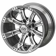 "14"" TEMPEST Gunmetal/Machined Aluminum Golf Cart Wheels - Set of 4"