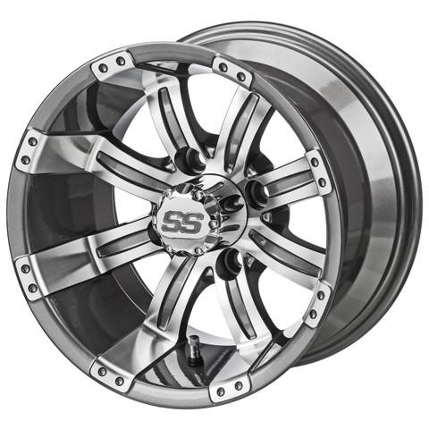 "14"" TEMPEST Gunmetal/Machined Aluminum Golf Cart Wheels - Set of 4"