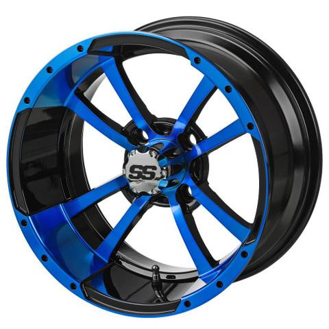 """14"""" STORM TROOPER Black/BLUE Aluminum Golf Cart Wheels - Set of 4"""