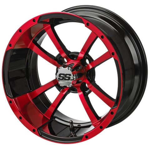 """14"""" STORM TROOPER Black/RED Aluminum Golf Cart Wheels - Set of 4"""