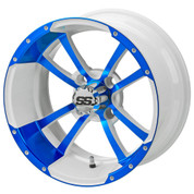 "14"" STORM TROOPER White/BLUE Aluminum Golf Cart Wheels - Set of 4"