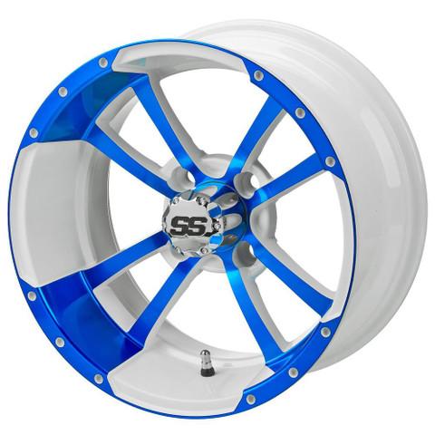 "14"" STORM TROOPER White/BLUE Aluminum Golf Cart Wheels - Set of 4"