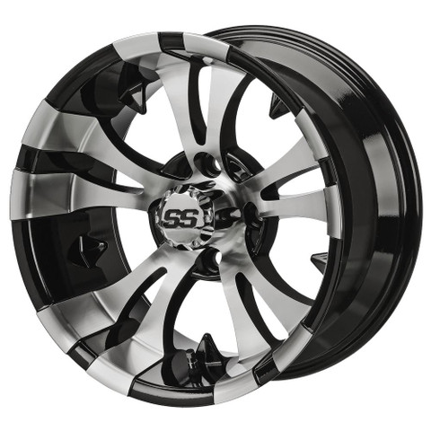 "14"" VAMPIRE Machined/ Black Aluminum Golf Cart Wheels - Set of 4"