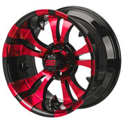 "14"" VAMPIRE Black/ RED Aluminum Golf Cart Wheels - Set of 4"