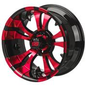 "14"" VAMPIRE Black/ RED Aluminum Golf Cart Wheels - Set of 4"