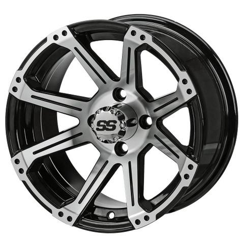 "14"" RAMPAGE Machined/ Black Aluminum Golf Cart Wheels - Set of 4"