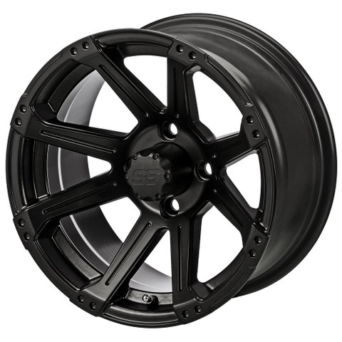 "14"" RAMPAGE Matte Black Aluminum Golf Cart Wheels - Set of 4"