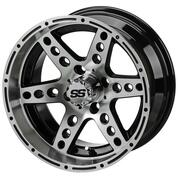 "14"" DOMINATOR Machined/ Black Aluminum Golf Cart Wheels - Set of 4"