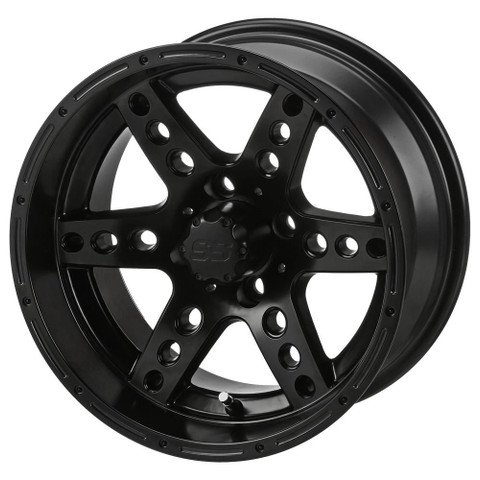 "14"" DOMINATOR Matte Black Aluminum Golf Cart Wheels - Set of 4"