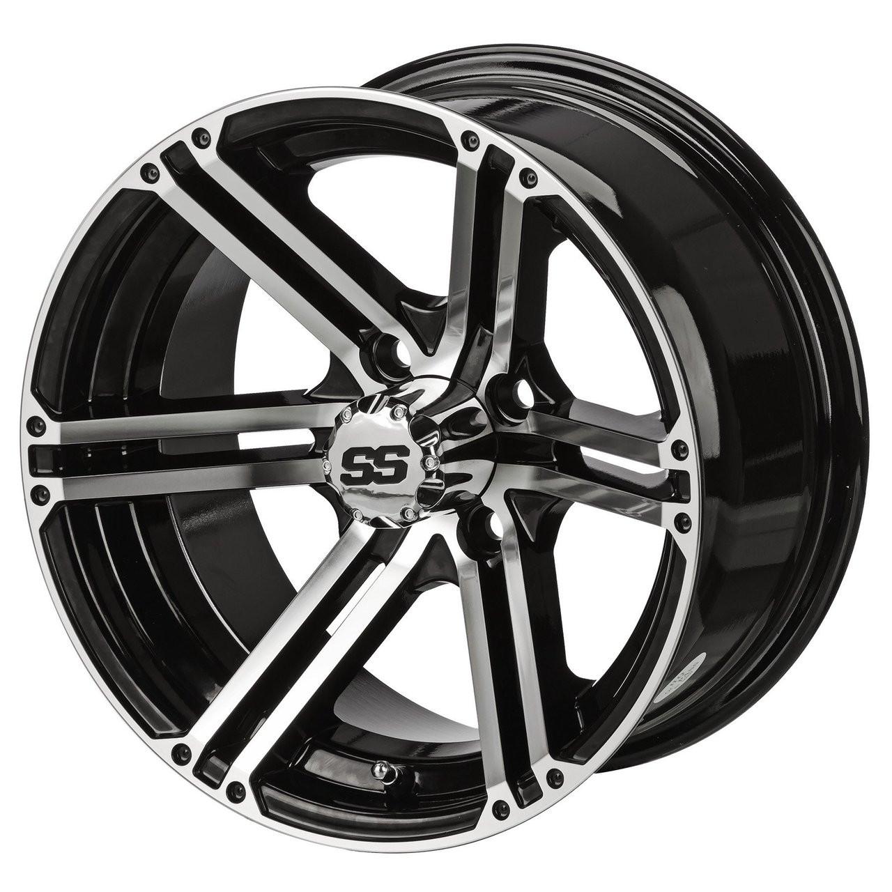 14 Terminator Machined Black Golf Cart Wheels Set Of 4 Golf Cart Tire Supply