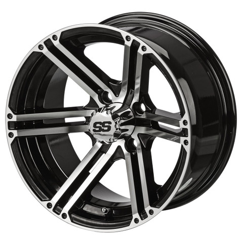 "14"" TERMINATOR Machined/ Black Aluminum Golf Cart Wheels - Set of 4"
