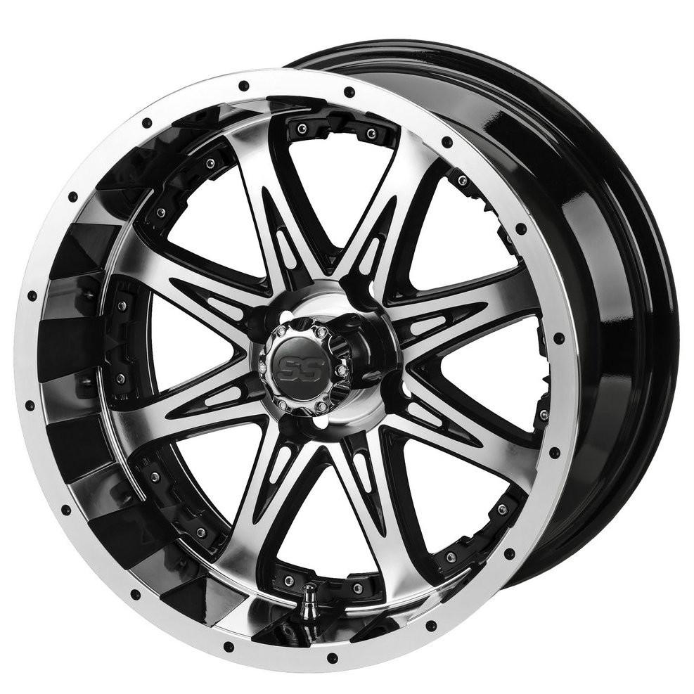 14 Revenge Machined Black Golf Cart Wheels Set Of 4 Golf Cart Tire Supply