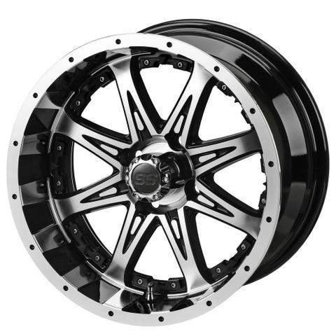 "14"" REVENGE Machined/ Black Aluminum Golf Cart Wheels - Set of 4"