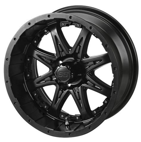 """14"""" REVENGE Matte Black Aluminum Golf Cart Wheels - Set of 4"""