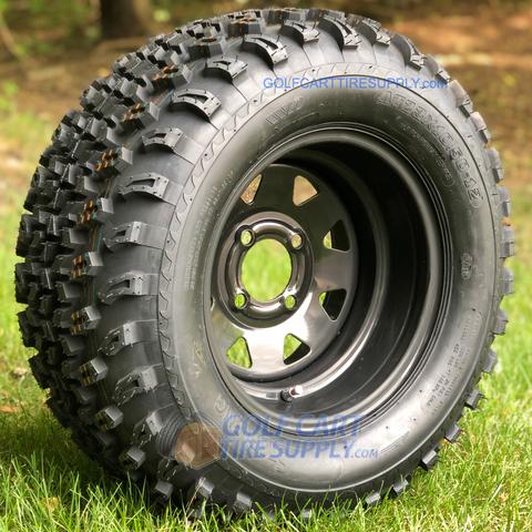 "12"" BLACK Steel Window Wheels and 23x10.5-12"" All Terrain Tires Combo"