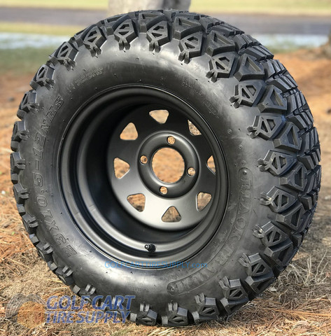 "12"" BLACK Steel Window Wheels and 23x10.5-12"" DOT All Terrain Tires Combo"