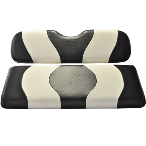 MADJAX Wave Two Tone Front Seat Covers in Black/White - Fits all Carts!