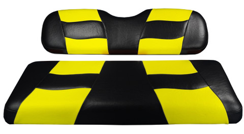 MADJAX Riptide Two Tone Front Seat Covers in Black/Yellow -  Fits all Carts!