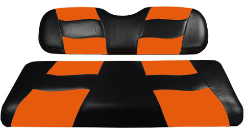 MADJAX Riptide Two Tone Front Seat Covers in Black/Orange -  Fits all Carts!
