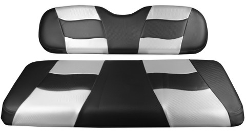 MADJAX Riptide Two Tone Front Seat Covers in Black/Silver -  Fits all Carts!