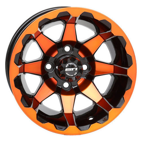 "12"" STI HD6 Radiant ORANGE/Black Golf Cart Wheels - Set of 4"