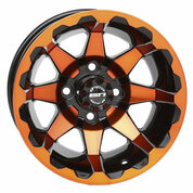 "12"" STI HD6 Radiant ORANGE/Black Golf Cart Wheels - Set of 4"