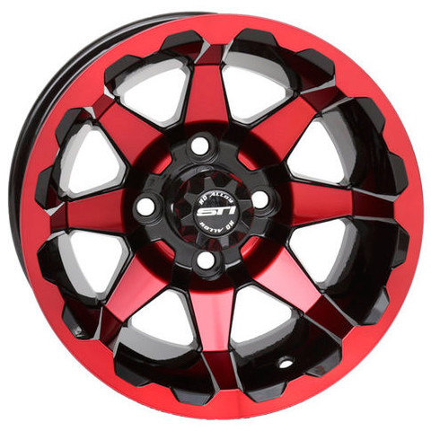 "12"" STI HD6 Radiant RED/Black Golf Cart Wheels - Set of 4"