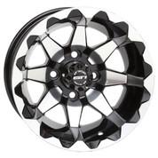 "12"" STI HD6 Machined/ Black Aluminum Golf Cart Wheels - Set of 4"