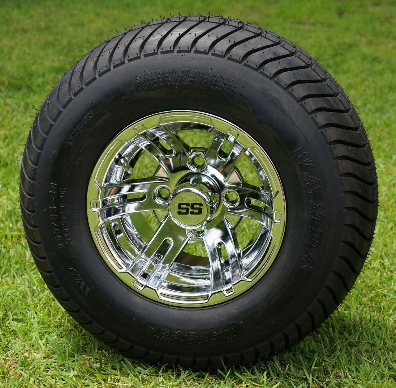 "10"" BULLDOG Chrome Golf Cart Wheels and 205/65-10 DOT ..."