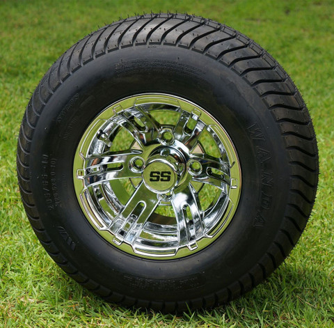 """10"""" BULLDOG CHROME Wheels and 205/65-10 ComfortRide DOT Tires Combo - Set of 4"""