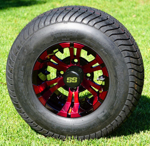 """10"""" VAMPIRE RED/ Black Wheels and 205/65-10 ComfortRide DOT Tires - Set of 4"""