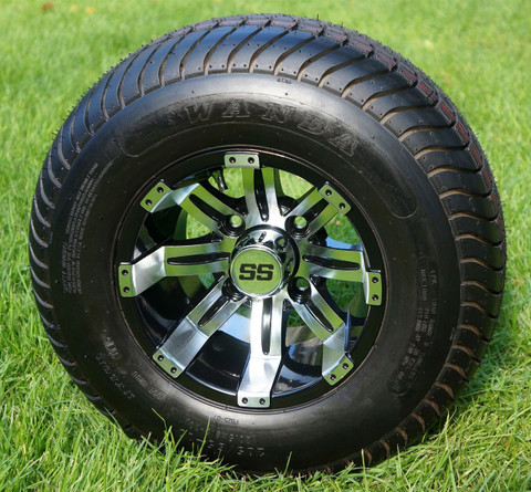 """10"""" TEMPEST Machined/ Black Wheels and 205/65-10 ComfortRide DOT Tires - Set of 4"""