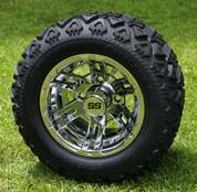 """10"""" BULLDOG CHROME Golf Cart Wheels and 18x9-10 DOT All Terrain Golf Cart Tires Combo - Set of 4"""