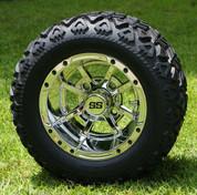 "10"" STORM TROOPER CHROME Golf Cart Wheels and 18x9-10 DOT All Terrain Golf Cart Tires Combo - Set of 4"