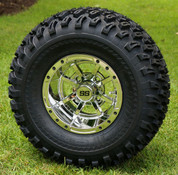 """10"""" STORM TROOPER CHROME Golf Cart Wheels and 22x11-10 All Terrain Tires Combo - Set of 4"""