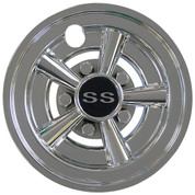 "SS Chrome 8"" Golf Cart Hub Caps - Set of 4 Wheel Covers"