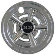 "SS Chrome 8"" Golf Cart Hub Caps - Set of 4 Wheel Covers"