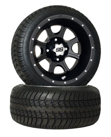 "ITP SS108B Black 12"" Wheel and ITP Ultra GT DOT Tire Combo"