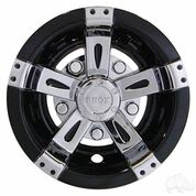 "8"" RHOX Vegas Black/ Chrome Golf Cart Hub Caps - Set of 4 Wheel Covers"