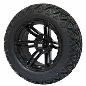 "14"" TERMINATOR Gloss Black Aluminum Wheels and 23x10-14 All Terrain Tire Combo - Set of 4"